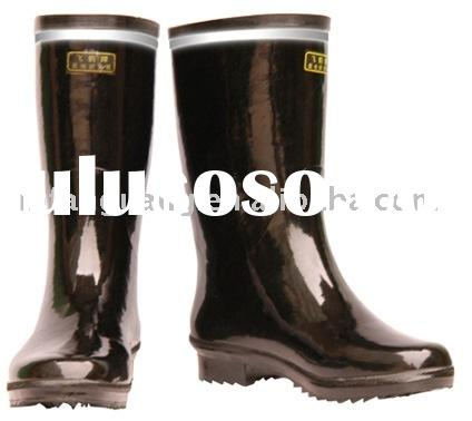 Reflective Safety Rubber Boots of Medium Heel for Women (Black)