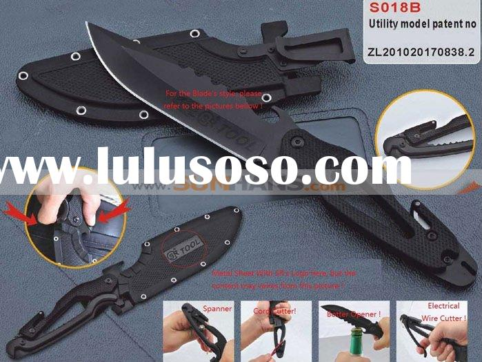 SR 018 Multi Functional Knife Tool Black Jungle Hunting Suvival Fix Blade / Plastic Sheath Knife