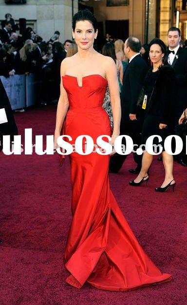 Sandra Bullock 83th Oscar 2011 Red Carpet Strapless Sheath Celebrity dresses Formal Gown