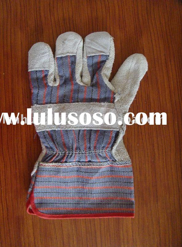 Split cowhide fitters and leather gloves