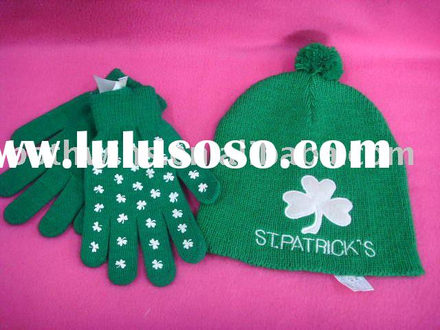 St. Patrick's hat and glove set in shamrock printing