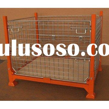 Stackable Folding Wire Mesh Container Storage Baskets Steel Cages