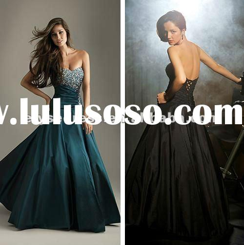 Sumptuous 2012 Crystal Strapless Ball Gown with Sequin Taffeta Corset Lace Up Prom Dresses