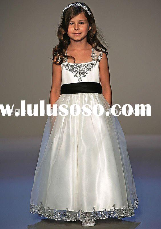Top popular princess straps ivory satin organza black sash flower girl dress A2554