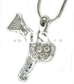 Trendy 3d 2-Sided Hair Stylist Hair Dryer Replica Silver Plated Diamond Pendant Necklace/Charm