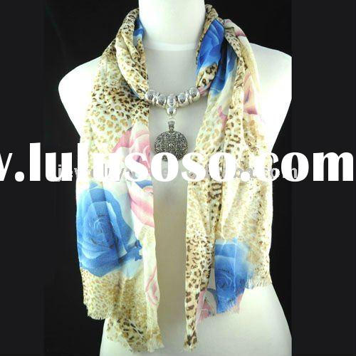 WHOLESALE &Free shipping, silver thread scarf ,jewel beads pendant scarf necklace ,fashion long