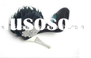 WS085 Fashion high heel ladies black sequined ladies fancy evening shoes with feather