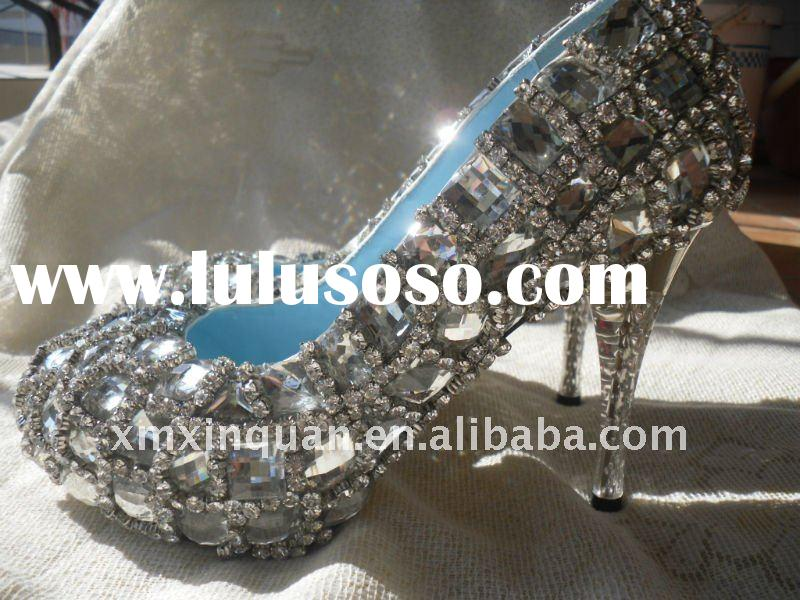 WS094 Super quality luxurious sparkle rhinestone women's white crystal wedding shoes 2011