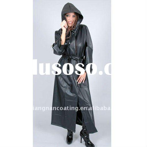 Waterproof fashion ladies pvc long raincoat