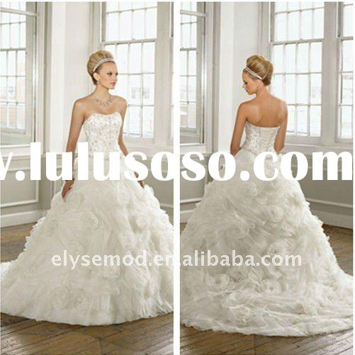 White New Fashion Strapless Ball Gown Appliqued Chiffon Royal Wedding Dresses