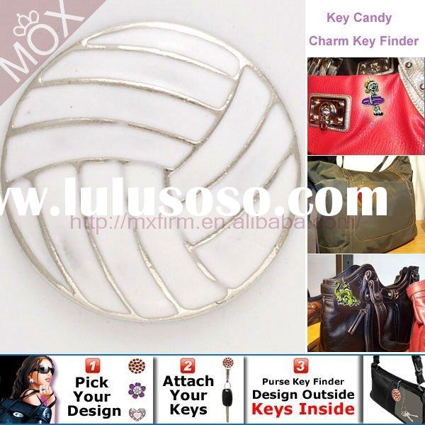 White Volleyball Key Candy Charm and Purse Key Finder By Pewter charms Factory