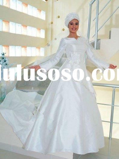 White elegant A-line skirt with trumpet long sleeves in chapel train designs custom made islamic bri