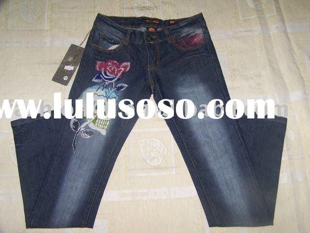 Wholesale Women Brand Jeans Blue Skull