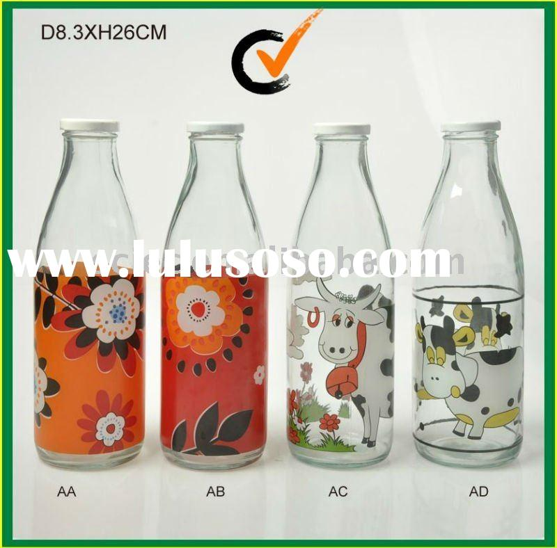 With Metal lid decal glass milk bottle
