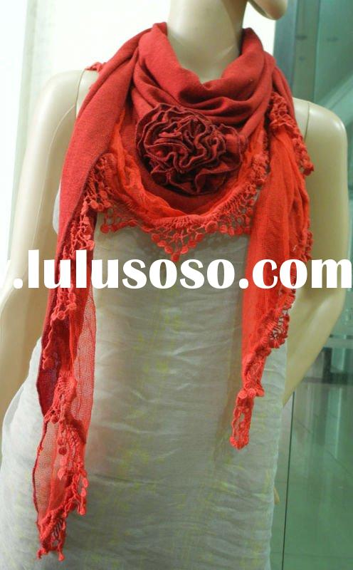 Women leisure triangle lace fashion scarf with fringe