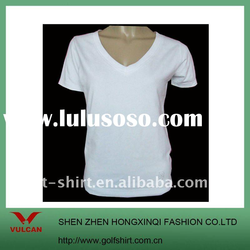 Women's plain white v-neck t shirt made of 100% cotton