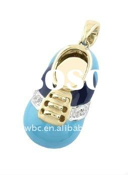 Yiwu fashion alloy yellow gold blue baby shoe shape charm necklace jewelry(184096)