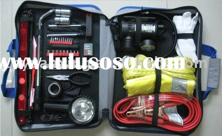 auto emergency tool set with booster cables and toe rope
