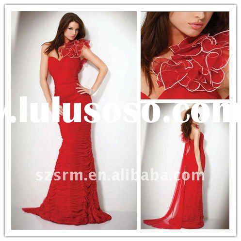 beautiful red mermaid style long prom dresses 2012