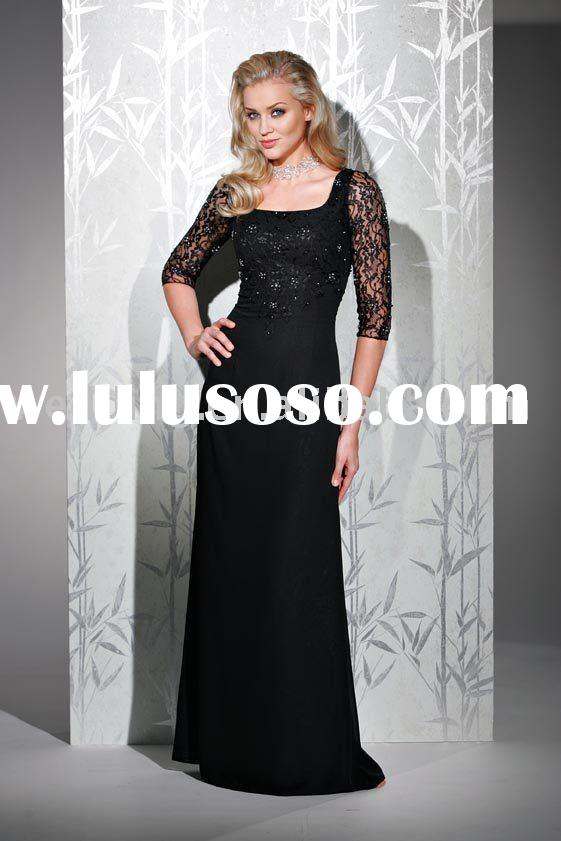 black mother of the bride dresses long sleeve evening dress 2011
