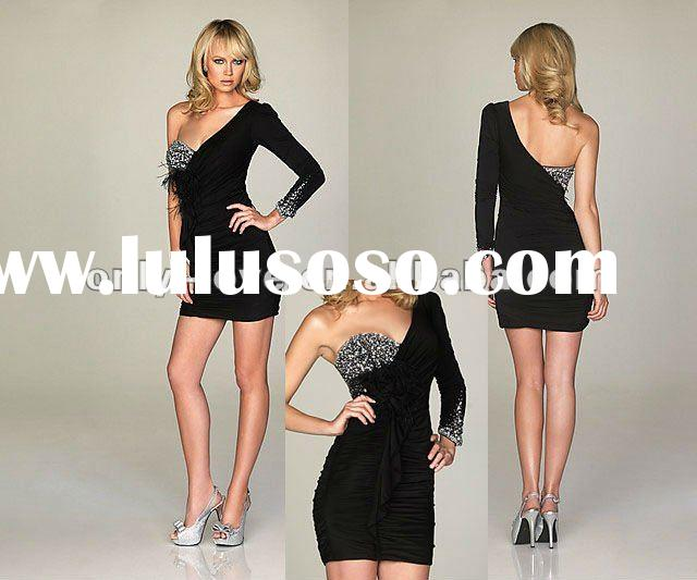 black one shoulder long sleeves crystals mini evening dress OLL018