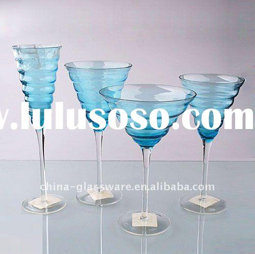 bule wine glass with design in the top