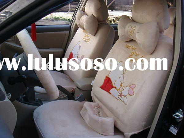 cowhide car seat cover 18PCS univisal soft velvet cartoon Winnie The Pooh Pink Pig winter car seat c