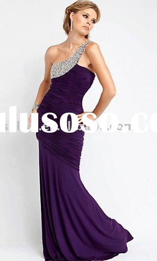 designer dark purple one shoulder beaded strap ruffled evening dresses wlf502