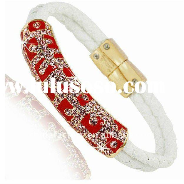 fashion red enamel rhinestone metal diy magnetic braided leather bracelet