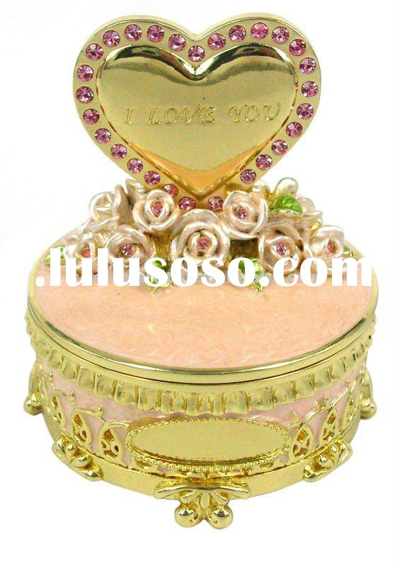 flower decoration heart shape fashion gold decorative metal Jewelry box for wedding gifts and valent