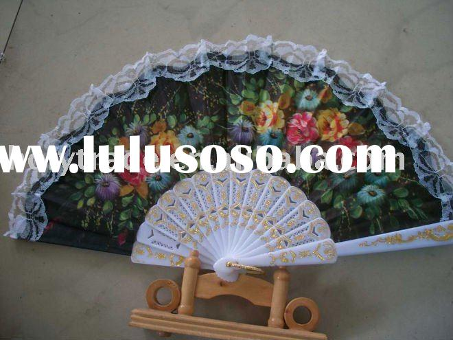 folding lace fan/plastic hand fan/wedding fan