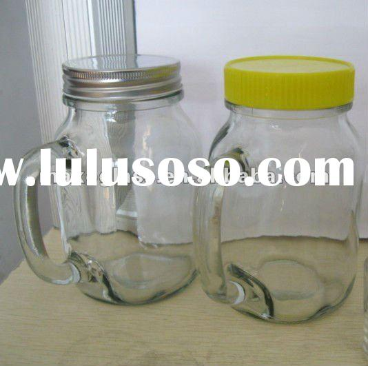 glass mason jar with handle with lid