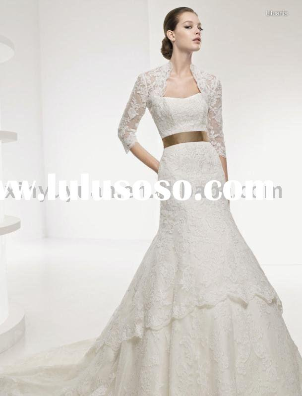 grace lace jacket shining wedding dress with gold bowknot back LSW-051
