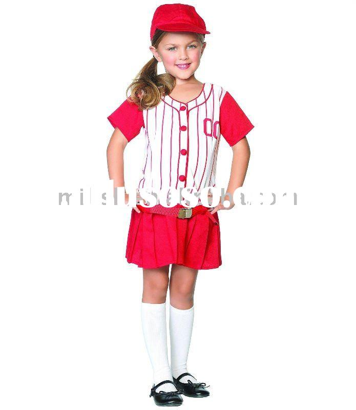 halloween children orange baseball girl fancy dress costumes for kids MAC-0402