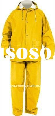 heavy rubber pvc/polyester raincoat rainsuit for industrial
