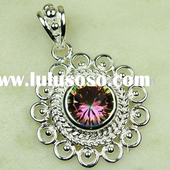 jewelry wholesale charms pendant 925 silver mystic topaz gemstone pendat