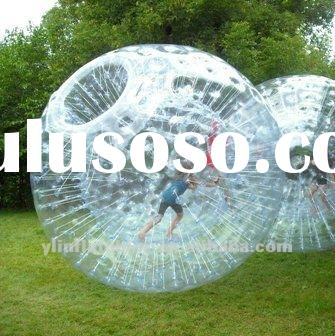 kids in clear inflatable human hamster ball/zorb ball