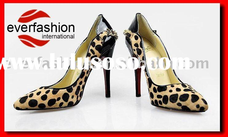 ladies designer high heel shoes with leopard lines EV-1006
