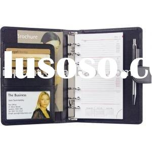 leather notebook with name card and pen(pocket diary,personal organisers)