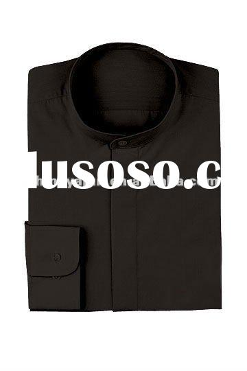 men' solid black shirts with banded collar for restaurant waiters wear