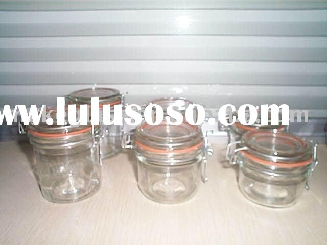 mini glass storage jar with rubber seal and metal clip