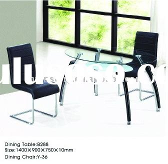 modern style transparent top glass and Chrome and solid wood legs dining table