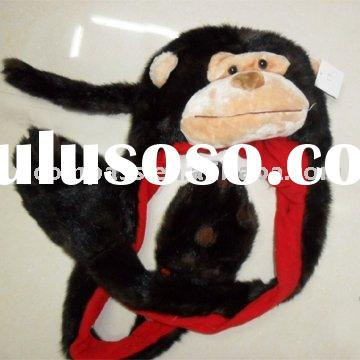 monkey hat with long scarf and paw glove