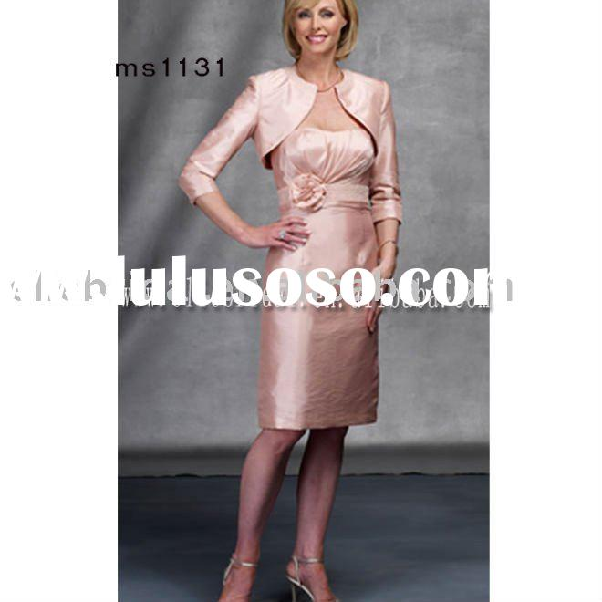 new arrival top quality strapless short style satin wedding mother dress with long sleeve jacket