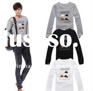 new men's fashion casual cotton fabric Korean version personalized long-sleeved T-shirt