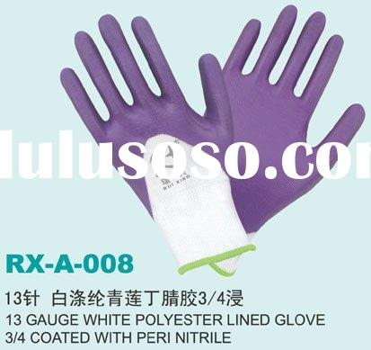 polyester lined glove 3/4 coated with peri nitrile working glove/palm