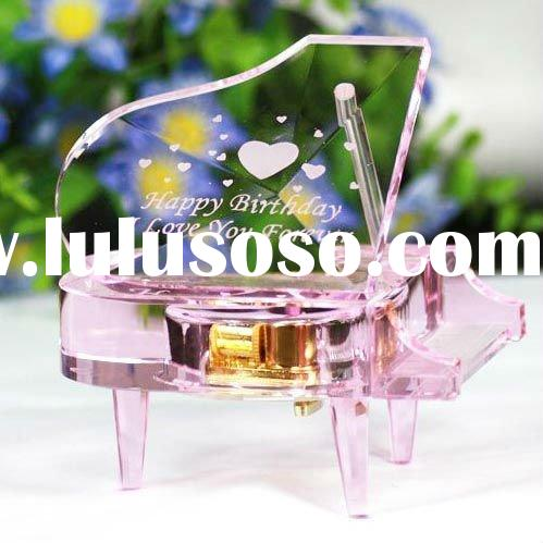 romantic pink crystal music box for birthday gift YYH0034-YEE