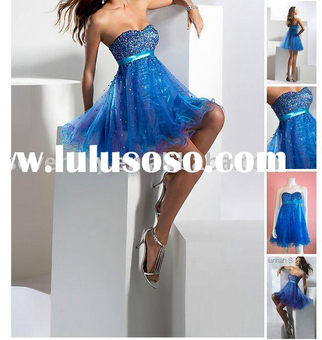 semi formal in this strapless short blue dresses new fashion 2011