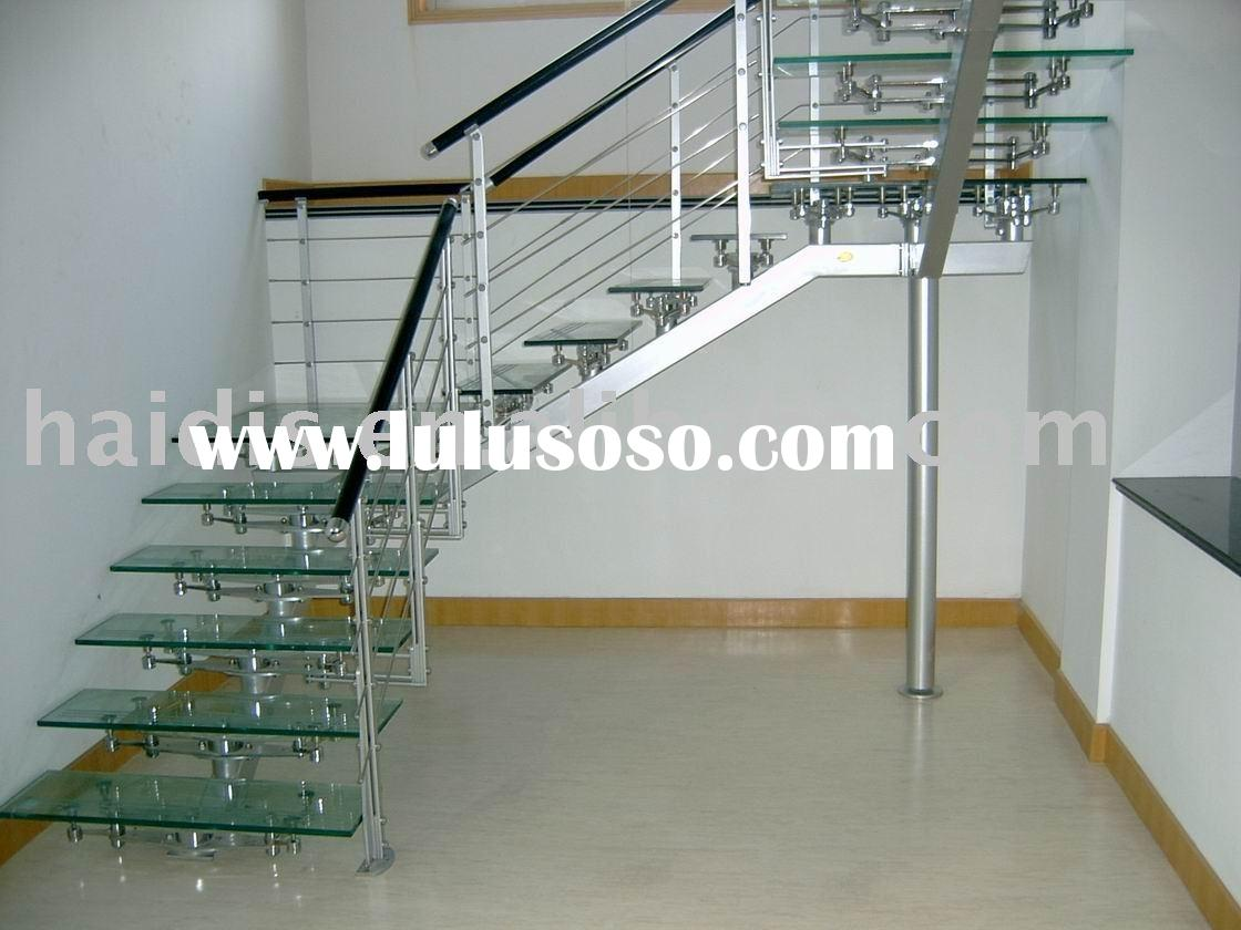 stainless steel balustrade with glass step staircase