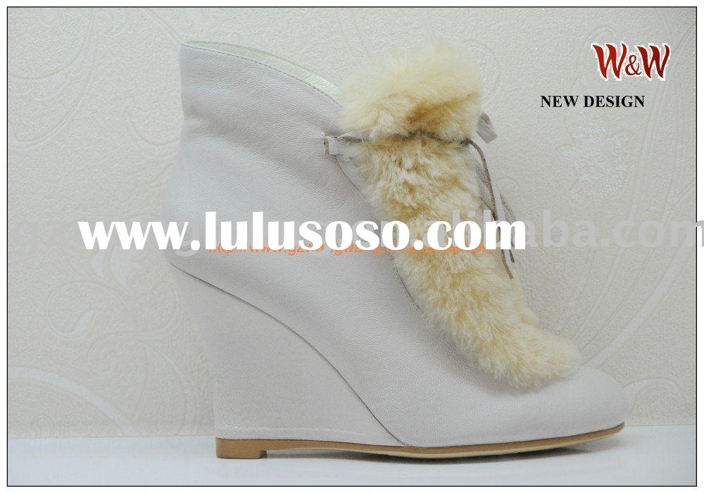 white lady leather ankle boots with rabbit fur